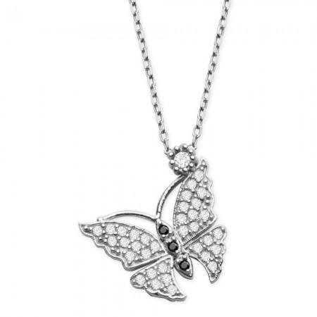 Tesbihane - 925 Ayar Gümüş Beyaz Zirkon Taşlı Kelebek Kolye