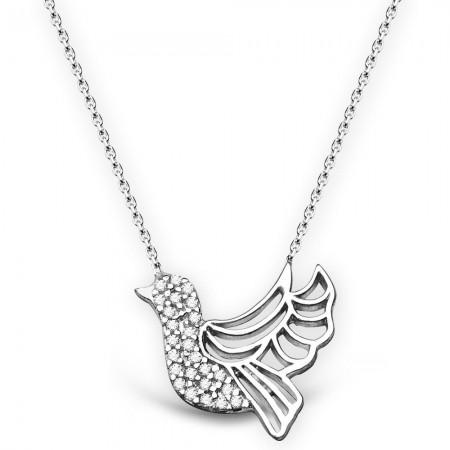 - 925 Ayar Gümüş Beyaz Zirkon Taşlı Kuş Tasarım Kolye