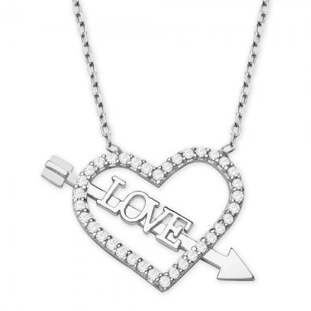 Tesbihane - 925 Ayar Gümüş Beyaz Zirkon Taşlı Love Yazılı Kalp Kolye
