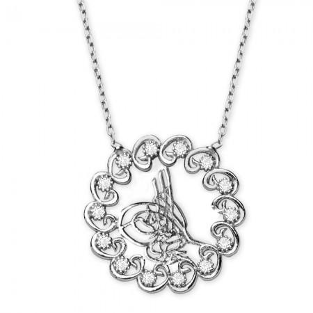 Tesbihane - 925 Ayar Gümüş Beyaz Zirkon Taşlı Tuğralı Kolye