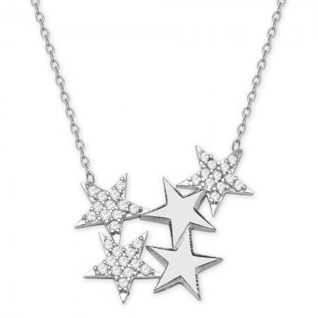 - 925 Ayar Gümüş Beyaz Zirkon Taşlı Yıldızlar Kolye
