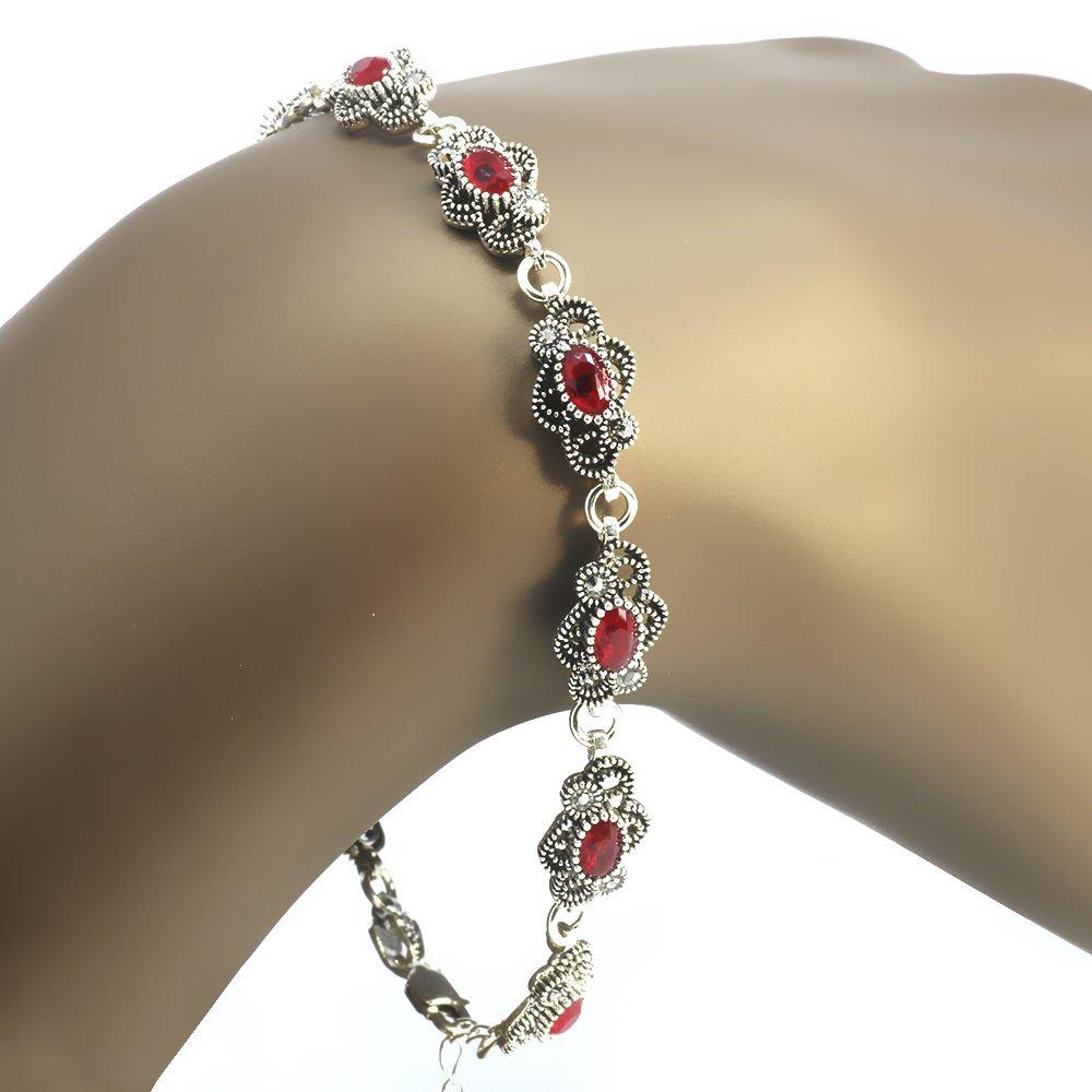 Kırmızı Zirkon Taşlı Tam Tur Çiçek Tasarım 925 Ayar Gümüş Bayan Bileklik