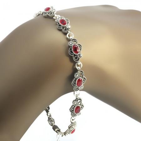 Tesbihane - Kırmızı Zirkon Taşlı Tam Tur Çiçek Tasarım 925 Ayar Gümüş Bayan Bileklik