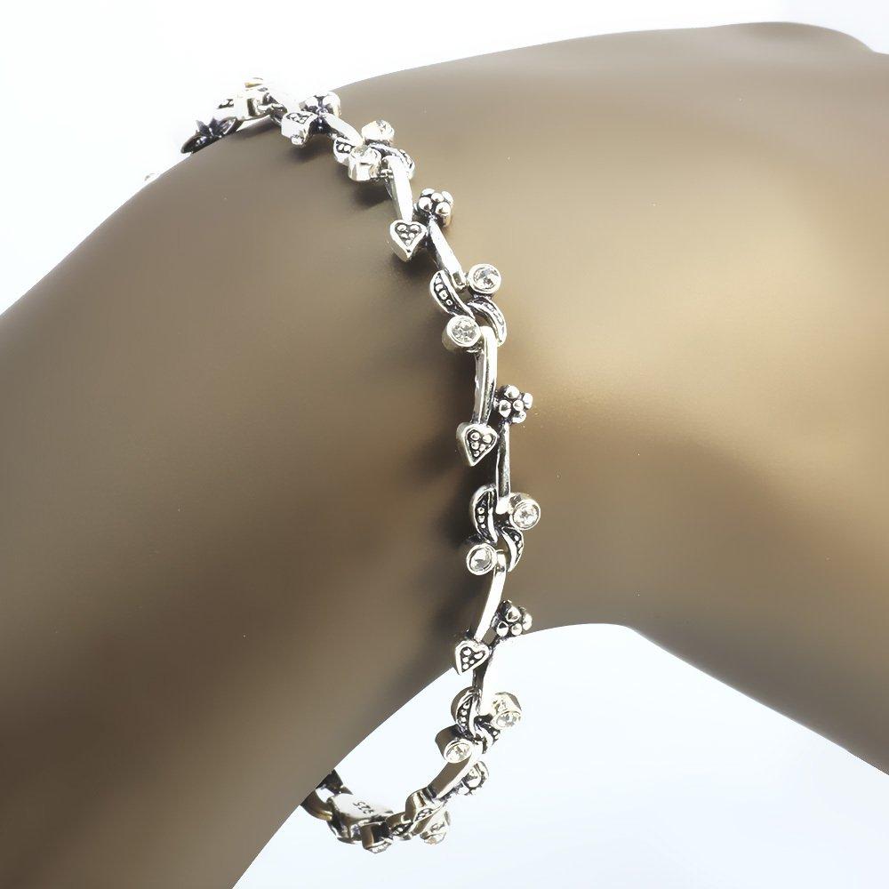 Zirkon Taşlı Tam Tur Kalp ve Çiçek Tasarım 925 Ayar Gümüş Bayan Bileklik