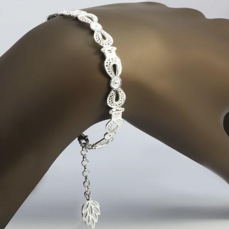 Tesbihane - Tam Tur Sonsuzluk Tasarım 925 Ayar Gümüş Bayan Bileklik