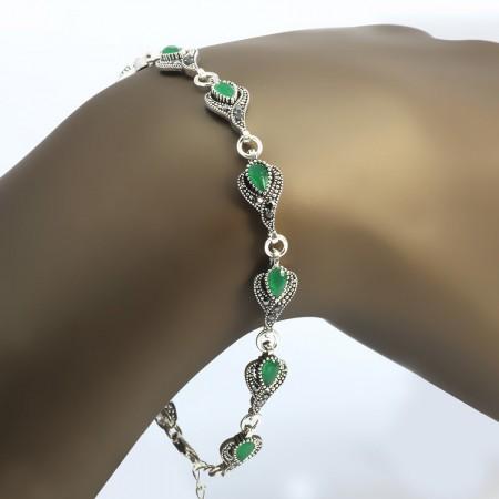 Tesbihane - Yeşil Zirkon Taşlı Tam Tur Damla Tasarım 925 Ayar Gümüş Bayan Bileklik