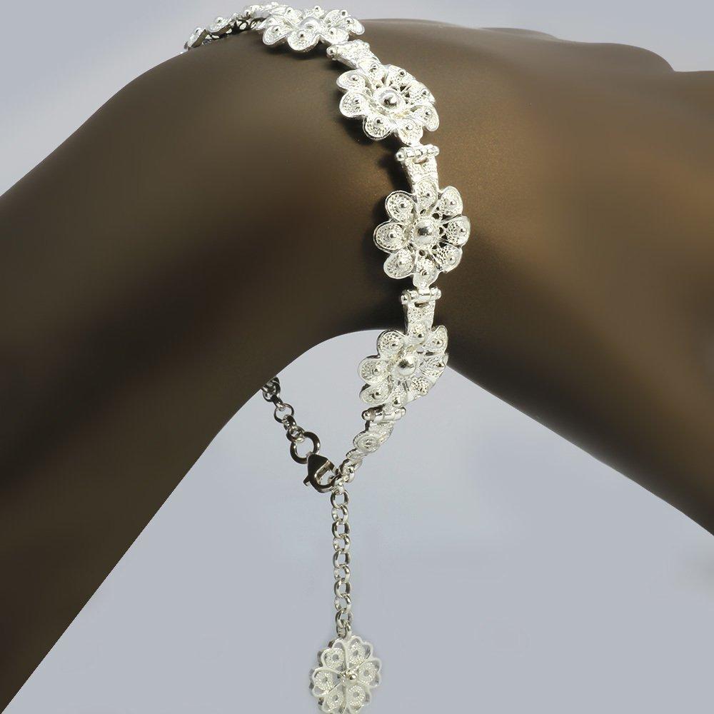 Tam Tur Çiçek Tasarım 925 Ayar Gümüş Bayan Bileklik