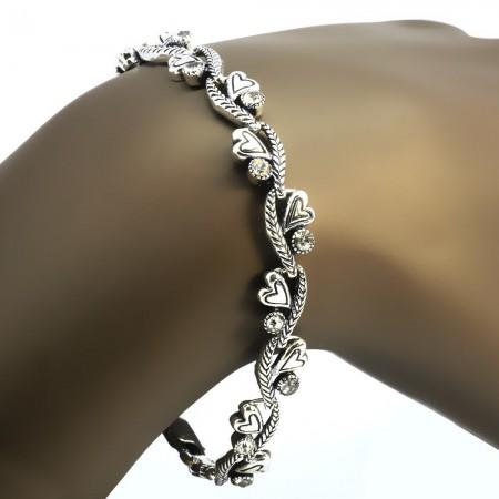Tesbihane - Zirkon Taşlı Tam Tur Kalp Tasarım 925 Ayar Gümüş Bayan Bileklik