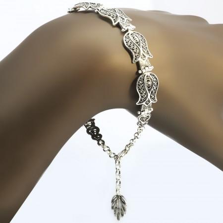 Tesbihane - Tam Tur Lale Tasarım 925 Ayar Gümüş Bayan Bileklik
