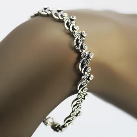 Tesbihane - Zirkon Taşlı Tam Tur Yaprak Tasarım 925 Ayar Gümüş Bayan Bileklik