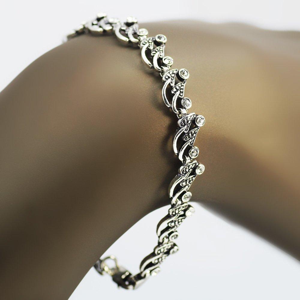 Zirkon Taşlı Tam Tur Yaprak Tasarım 925 Ayar Gümüş Bayan Bileklik