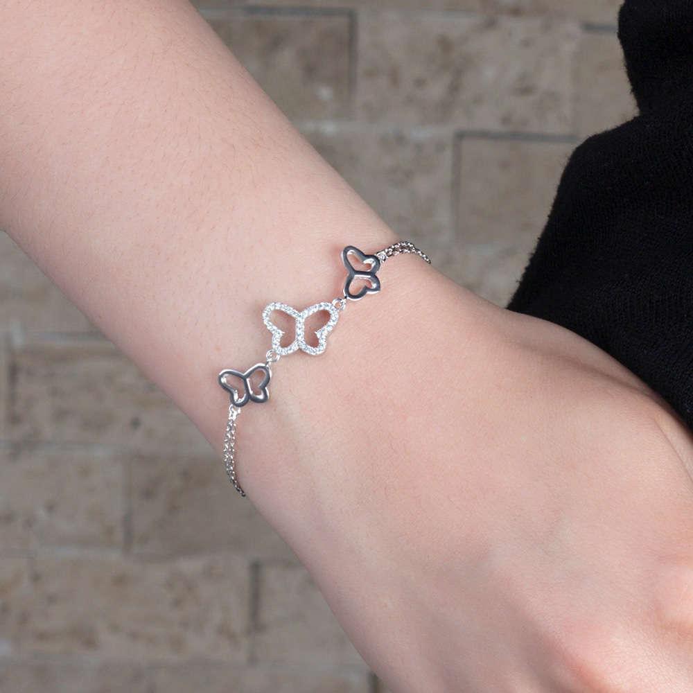 Zirkon Taşlı 3 Kelebek Tasarım 925 Ayar Gümüş Bayan Bileklik
