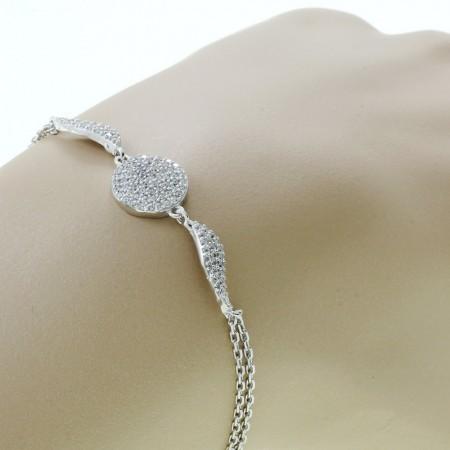Tesbihane - Zirkon Taşlı Kanat Tasarım 925 Ayar Gümüş Bayan Bileklik