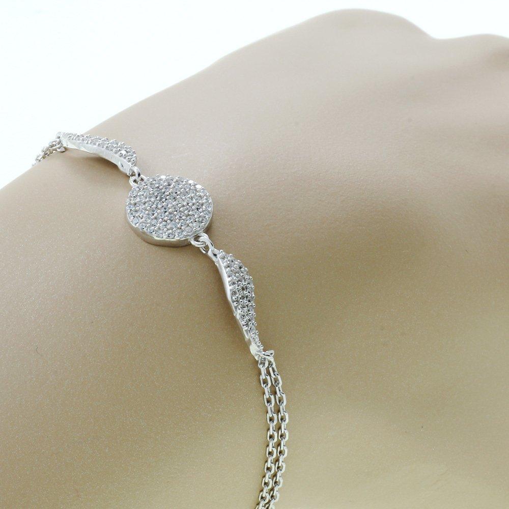 Zirkon Taşlı Kanat Tasarım 925 Ayar Gümüş Bayan Bileklik