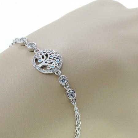 Tesbihane - Zirkon Taşlı Hayat Ağacı Tasarım 925 Ayar Gümüş Bayan Bileklik