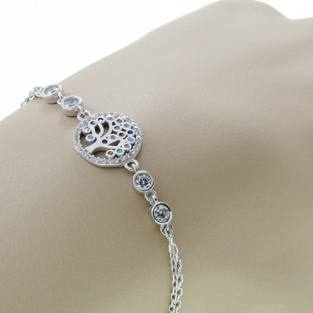 Zirkon Taşlı Hayat Ağacı Tasarım 925 Ayar Gümüş Bayan Bileklik