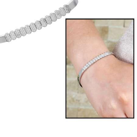 Tesbihane - Sıralı Zirkon Taş İşlemeli 925 Ayar Gümüş Su Yolu Bayan Bileklik