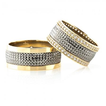 Tesbihane - Yoğun İşlemeli Gold-Gri Renk 925 Ayar Gümüş Çift Alyans