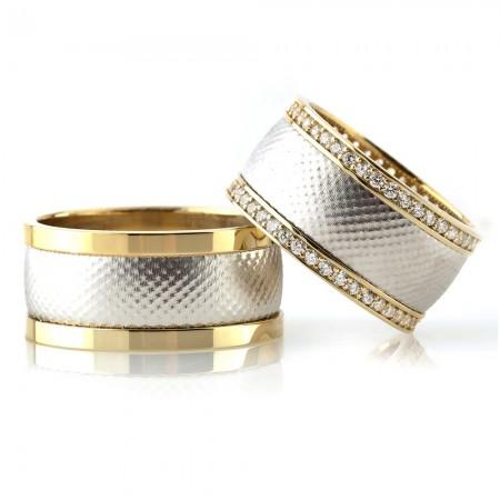 - Çift Şerit Tasarım 925 Ayar Gümüş Çift Alyans