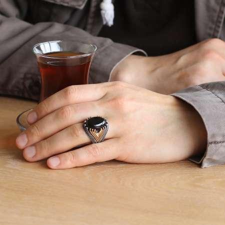 Zincir Desen İşlemeli Siyah Oniks Taşlı 925 Ayar Gümüş Erkek Yüzük - Thumbnail