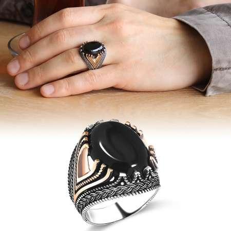 Tesbihane - Zincir Desen İşlemeli Siyah Oniks Taşlı 925 Ayar Gümüş Erkek Yüzük