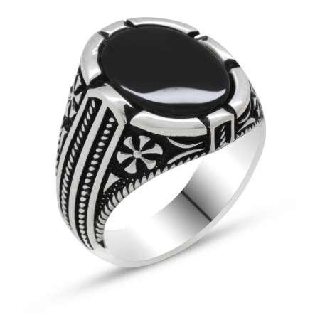 925 Ayar Gümüş Bombeli Siyah Oniks Taşlı Erkek Yüzük - Thumbnail