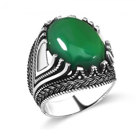 Tesbihane - 925 Ayar Gümüş Bombeli Yeşil Akik Taşlı Yüzük