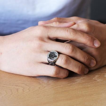 Ayyıldız İşlemeli Kurt Motifli 925 Ayar Gümüş Börü Yüzüğü - Thumbnail