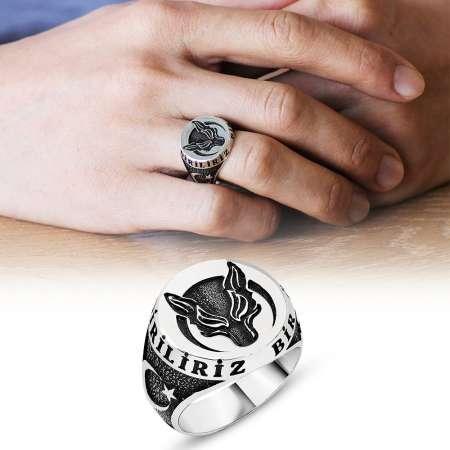 - Ayyıldız İşlemeli Kurt Motifli 925 Ayar Gümüş Börü Yüzüğü
