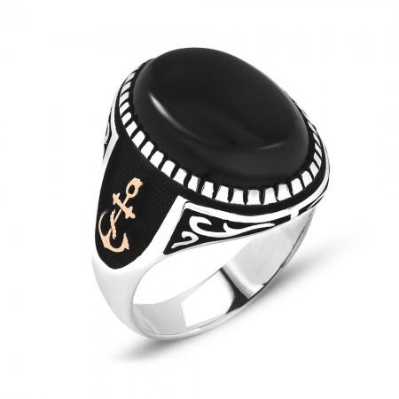 Tesbihane - Çapa İşlemeli Siyah Oniks Taşlı 925 Ayar Gümüş Erkek Yüzük
