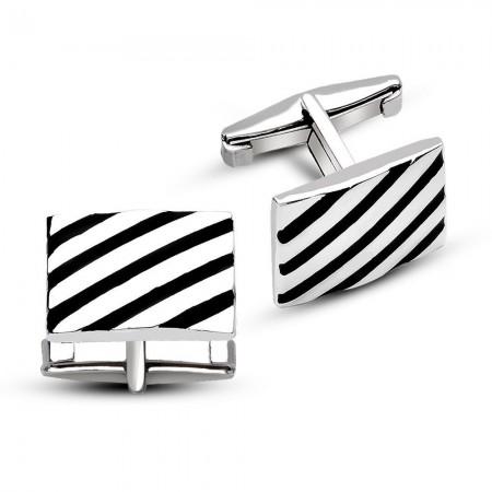 - 925 Ayar Gümüş Çapraz Şerit Tasarımlı Kol Düğmesi