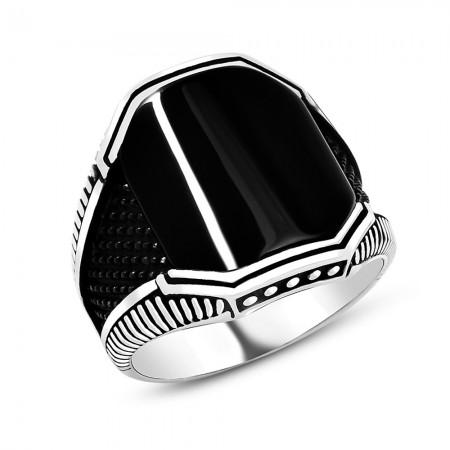 Tesbihane - Siyah Oniks Taşlı 925 Ayar Gümüş Cevahir Yüzüğü