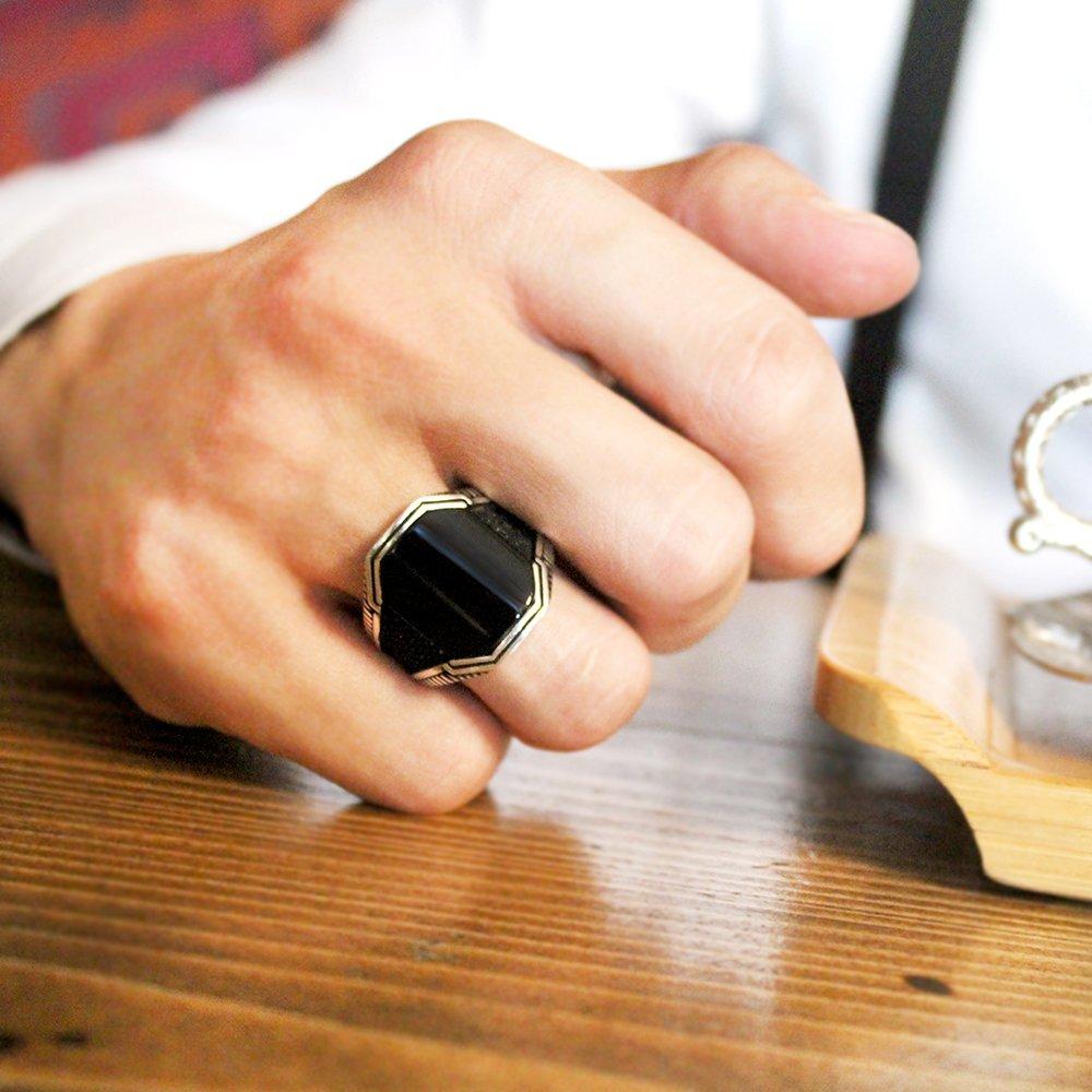 Siyah Oniks Taşlı 925 Ayar Gümüş Cevahir Yüzüğü