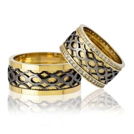 Tesbihane - Sonsuzluk Desen Motifli Gold-Siyah Renk 925 Ayar Gümüş Çift Alyans