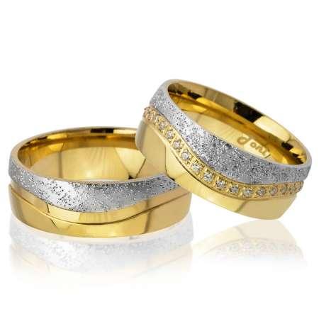 Tesbihane - Su Yolu Tasarım Gold-Gri Renk 925 Ayar Gümüş Çift Alyans