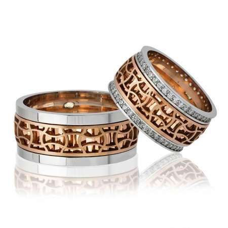- Özel Tasarım Motif İşlemeli Rose Renk 925 Ayar Gümüş Çift Alyans