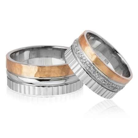 Tesbihane - Üç Şerit Tasarım 925 Ayar Gümüş Çift Alyans