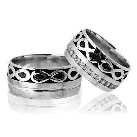 Tesbihane - Sonsuzluk Desen Motifli Gri Renk 925 Ayar Gümüş Çift Alyans
