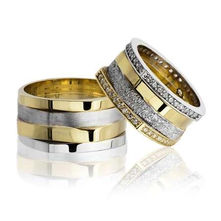 Tesbihane - Köşeli Tasarım Dört Şeritli 925 Ayar Gümüş Çift Alyans
