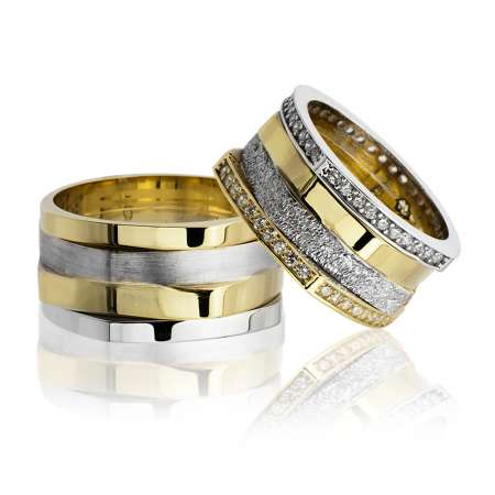 - Köşeli Tasarım Dört Şeritli 925 Ayar Gümüş Çift Alyans