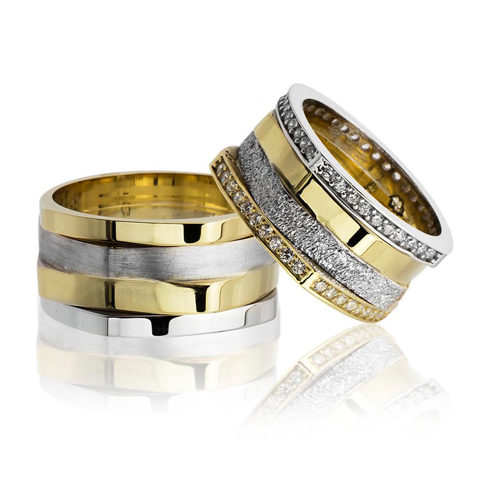 Köşeli Tasarım Dört Şeritli 925 Ayar Gümüş Çift Alyans