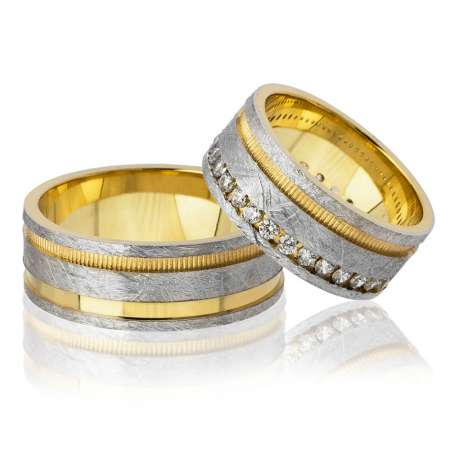 - Üç Şerit Tasarım Gold-Gri Renk 925 Ayar Gümüş Çift Alyans