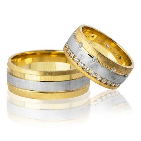 Tesbihane - Tek Şerit Tasarım Gold-Gri Renk 925 Ayar Gümüş Çift Alyans