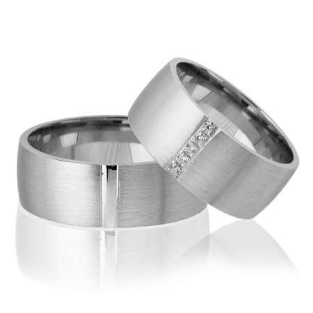 Tesbihane - Klasik Tasarım Gri Renk 925 Ayar Gümüş Çift Alyans