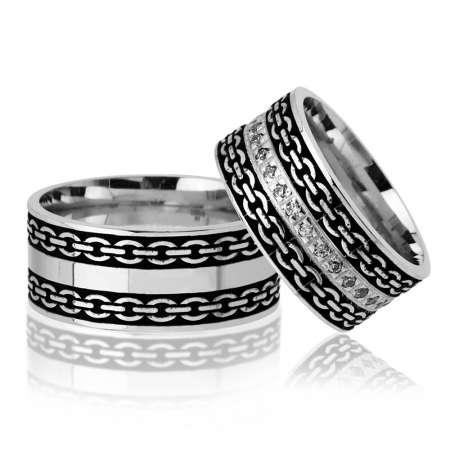 - Zincir Desen İşlemeli 925 Ayar Gümüş Çift Alyans