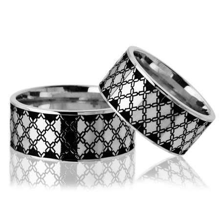 Tesbihane - Baklava Desen Motifli 925 Ayar Gümüş Çift Alyans