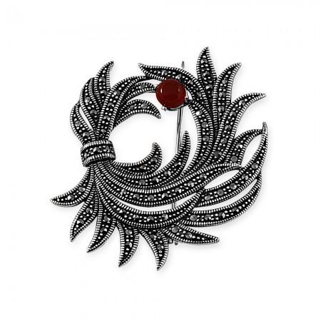 Tesbihane - 925 Ayar Gümüş Çiçek Demeti Broş