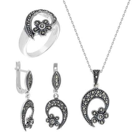 Tesbihane - Zirkon Taşlı Çiçek Tasarım 925 Ayar Gümüş 3'lü Takı Seti
