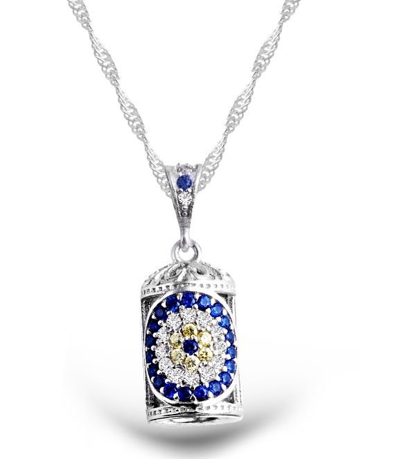 925 Ayar Gümüş Çiçek Motifli Cevşen Kolye