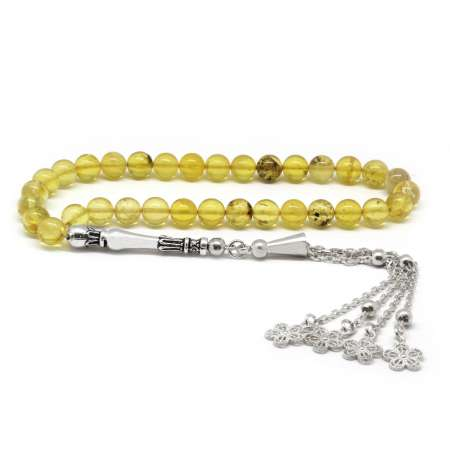 Tesbihane - 925 Ayar Gümüş Çiçek Püsküllü Küre Kesim Açık Sarı Damla Kehribar Tesbih